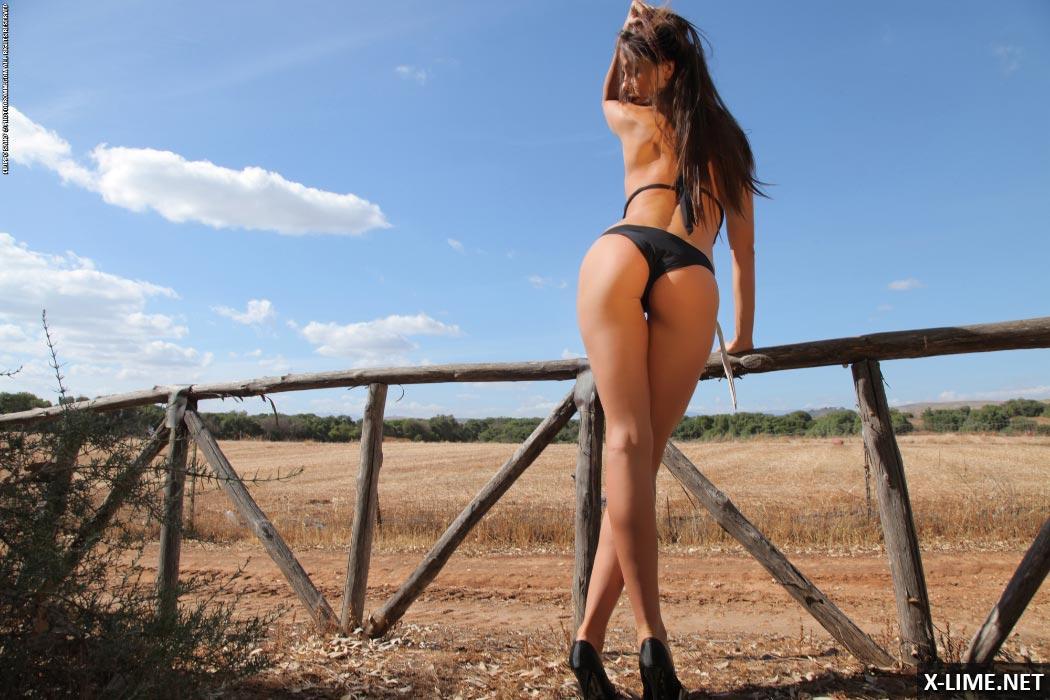 Эротические фото обнаженной девушки в поле